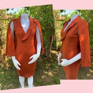Orange Cocktail Dress with Cape ,Knee Length